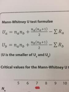 mann whitney formual